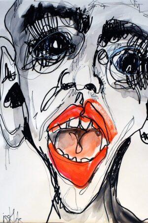 Lisa Klok - Efter festen - Original tegning